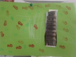 My nephew made this artwork from a postcard of the Leaning Tower of Pisa that I sent him