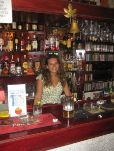 Working hard behind the bar in Greece...