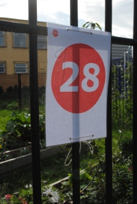 One of the Made in Roath numbers that are given out to guide people around the exhibits